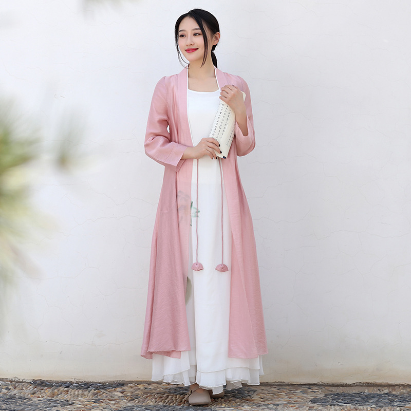 Laughing Buddha Edge of The Cloud Support Zen Loose Linen Clothing Chinese Clothing Plus Tea Pink