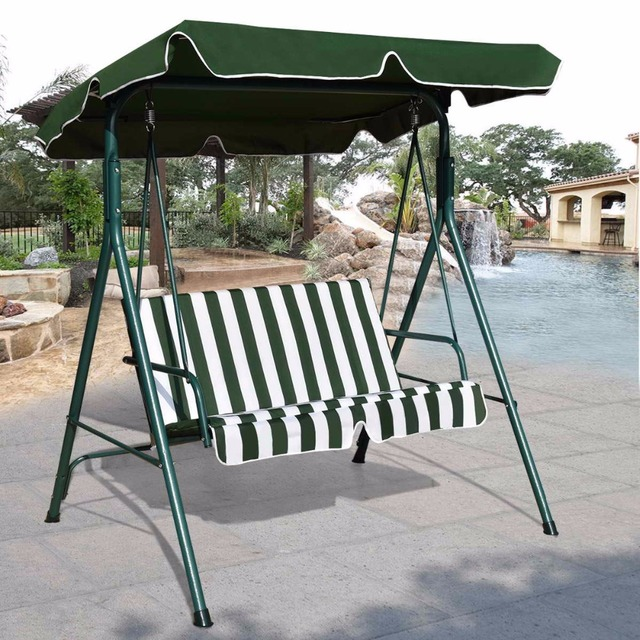 Goplus Loveseat Patio Canopy Swing Glider Hammock Cushioned Steel Frame  Bench Outdoor Patio Swing Garden Furniture