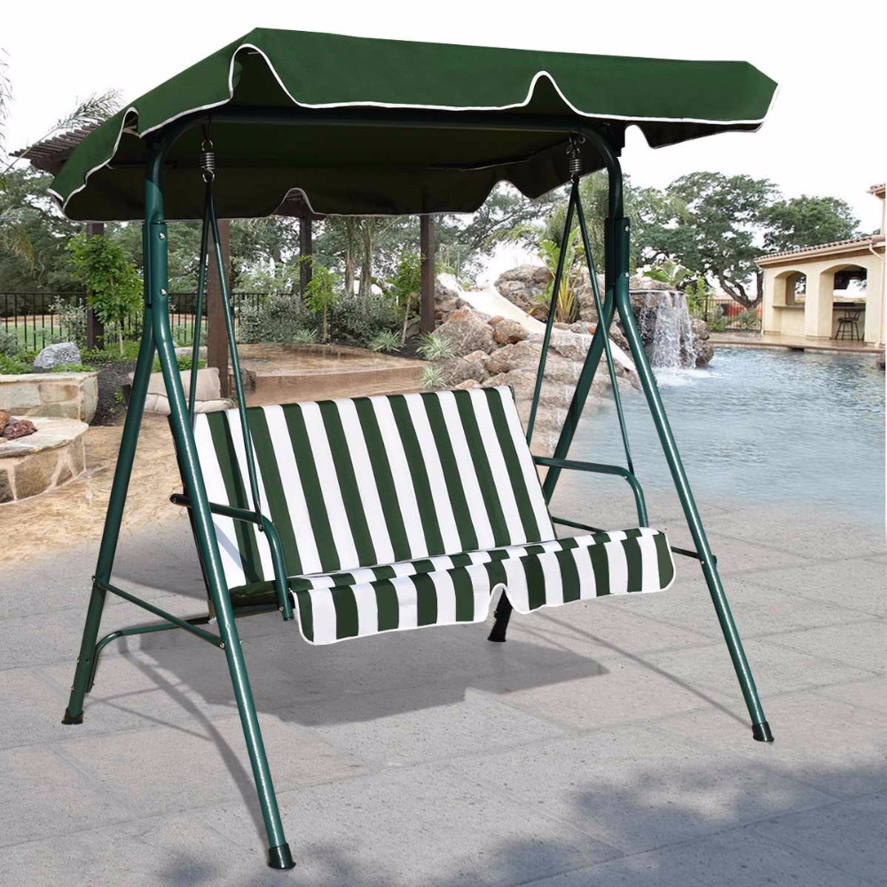 Goplus Loveseat Patio Canopy Swing Glider Hammock Cushioned Steel Frame Bench Outdoor Patio Swing Garden Furniture OP3102