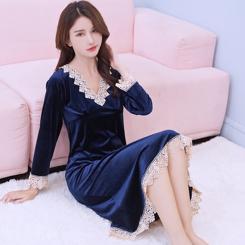 Sexy Women Velvet Home Dress Robe Gown Autumn Winter Warm   Nightgown   Long Sleeve Nightdress Casual   Sleepshirt   Home Clothes