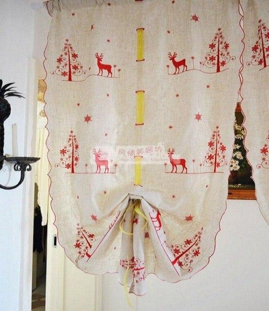 € 23.76 |Navidad bordado paños de cocina café cortina cortina Balloon envío  gratis ciego en Cortinas de Hogar y Jardín en AliExpress.com | ...