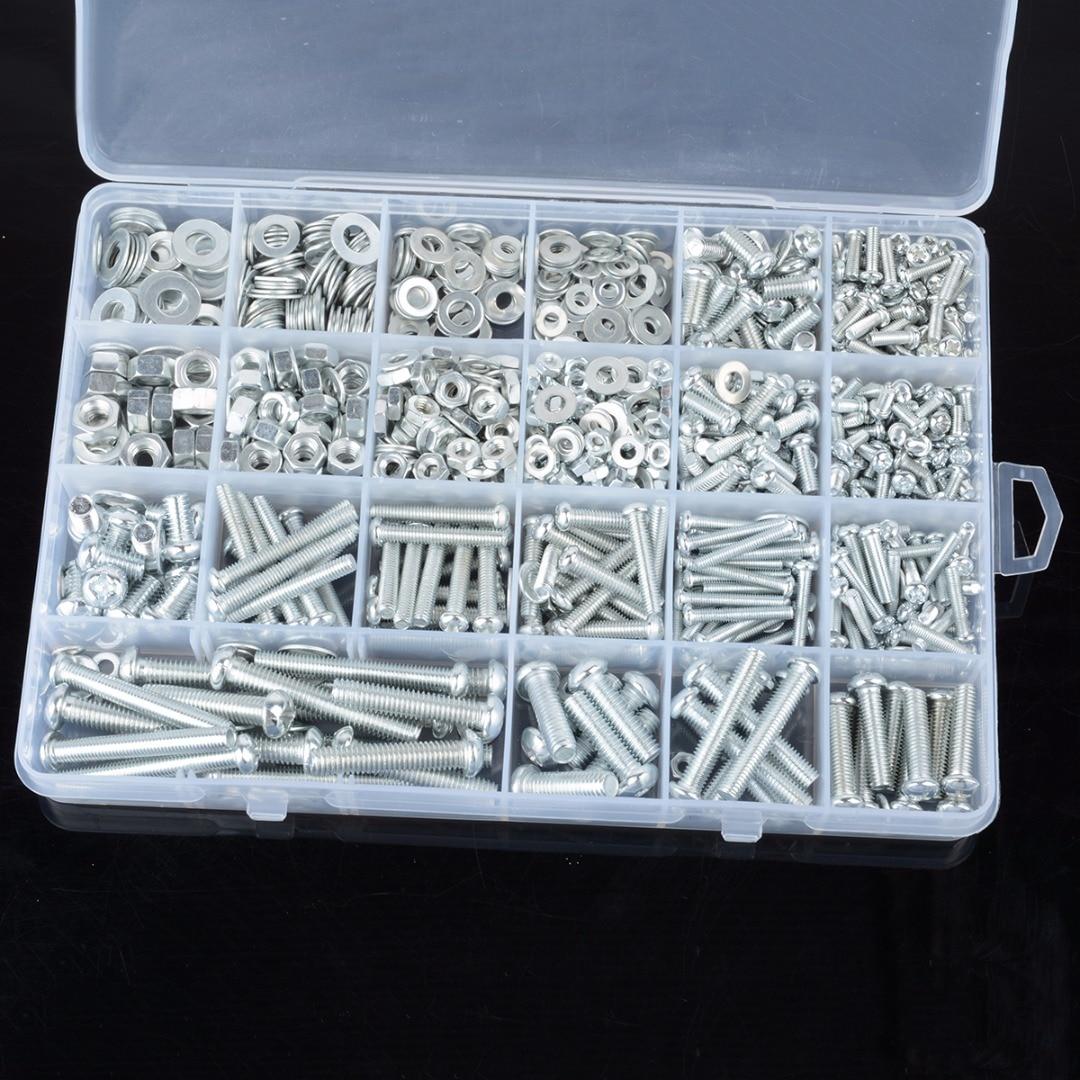 1 Set M3/M4/M5/M6 Galvanized Flat Screw Set Cross Head Bolt Nuts Washers Kit For DIY Hardware Tools Accessories m