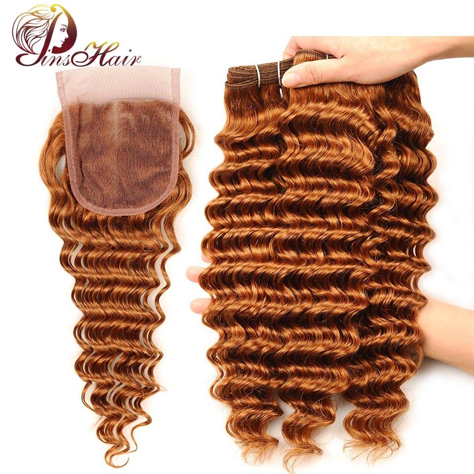 Pinshair предварительно Цветной Малайзии волос глубокая волна Комплект S с Синтетическое закрытие волос 30 Blonde ткань Человеческие волосы 3 Компл...