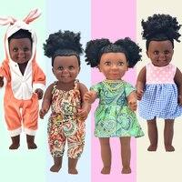 African! black 17inch baby dolls reborn boneca Rapunzel silicone dress toys girls lalka gift children brinquedo menina Nathaniel