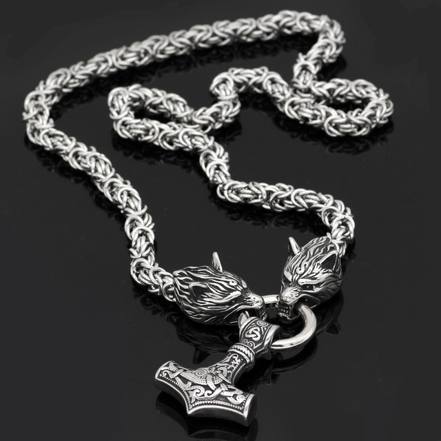 STAINLESS STEEL KING CHAIN WITH WOLF HEADS & MJOLNIR NECKLACE