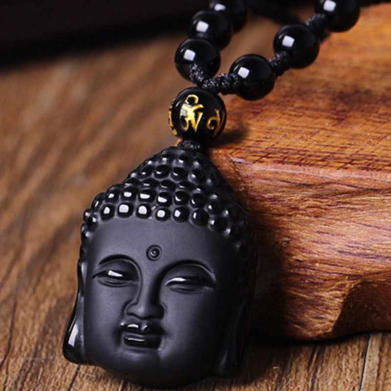 Natural Black Obsidian Carved Buddha Head Pendant with Bead Lucky Amulet Necklace For Men Women Pendants Jewelry
