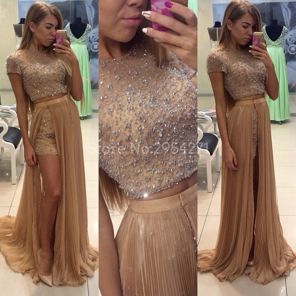 Two Piece Prom Dresses Long With Detachable Skirt Bling Bling Short Sleeves Floor Length African Prom Dress Evening Gown