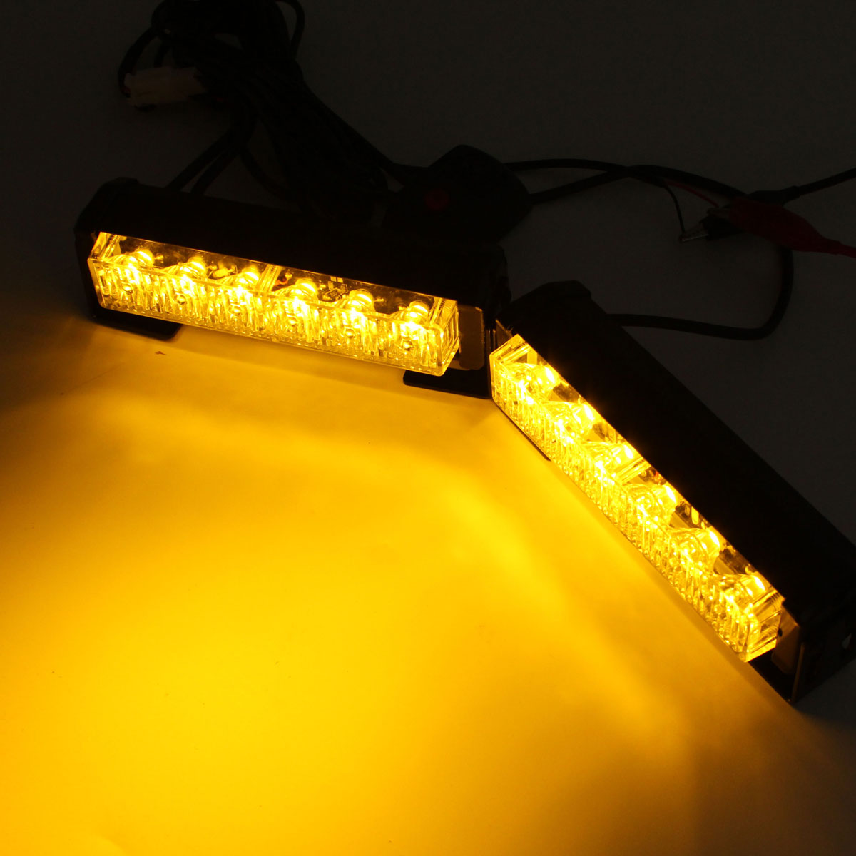 2x 6 LED 12V Amber Car Flashing Hazard Light Strobe Flash Lamp Switch Harness Car Flash Signal Emergency Warning Light