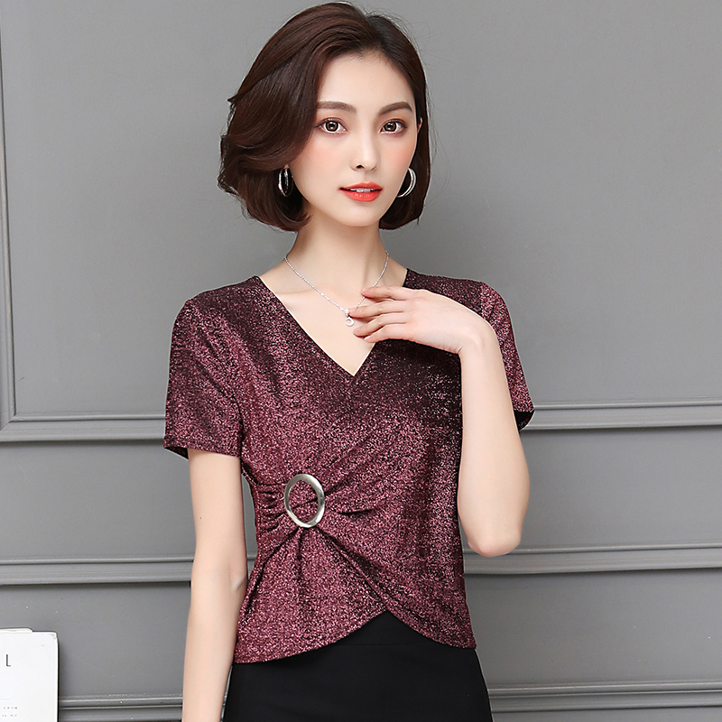 Plus Size 2018 New Spring Fashion Short Sleeve Slim V-Neck Bright Silk High-end Render   Blouse     Shirt   Deep Purple Lake Blue 9932