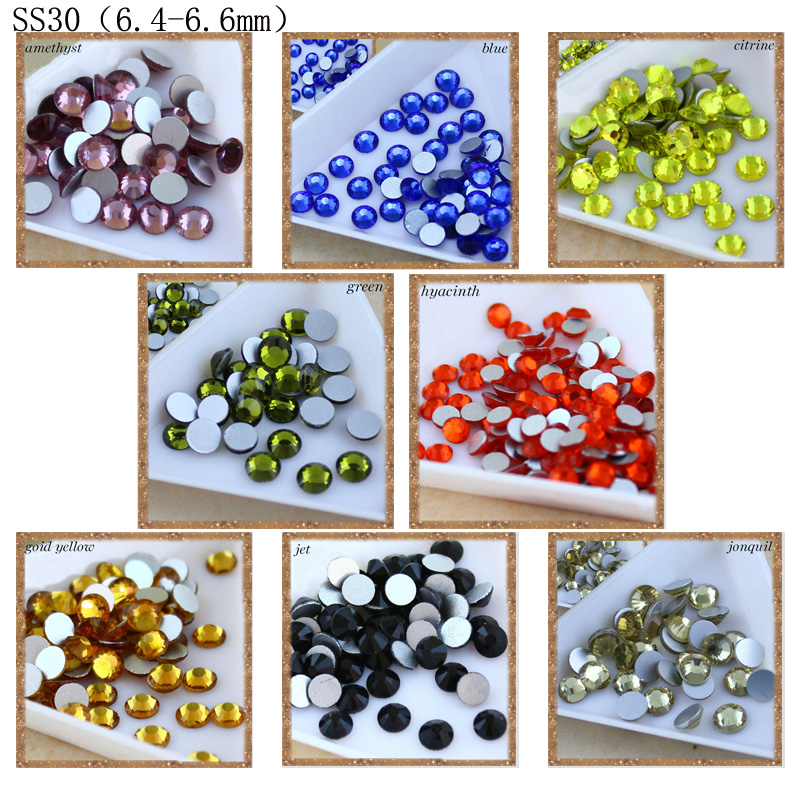 New crystal 288pcs/pack SS30 crystal clear color 6.5mm round glue on flatback M-foild non-hotfix rhinestone for Clothes