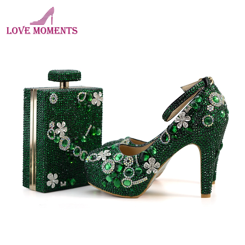 Gorgeous Bottle Green Crystal Bridal Wedding Party Shoes with Matching Purse Custom Made Mother of the