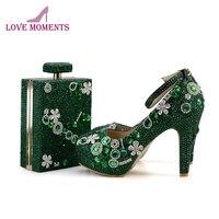 Великолепный Бутылки Зеленый Кристалл Свадебные вечерние туфли с соответствующими кошелек индивидуальный заказ обувь для матери невесты