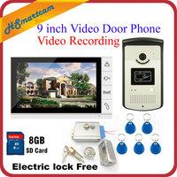 New 9 Color Record Screen Video Intercom Door Phone Kit + RFID Access Doorbell Camera + 8G SD Electric lock Free Shipping
