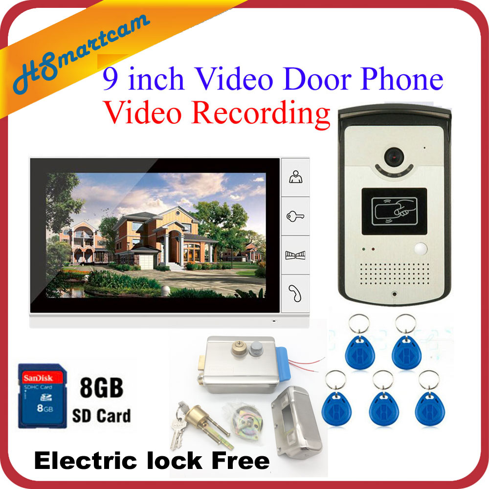 New 9 Color Record Screen Video Intercom Door Phone Kit + RFID Access Doorbell Camera + 8G SD Electric lock Free Shipping