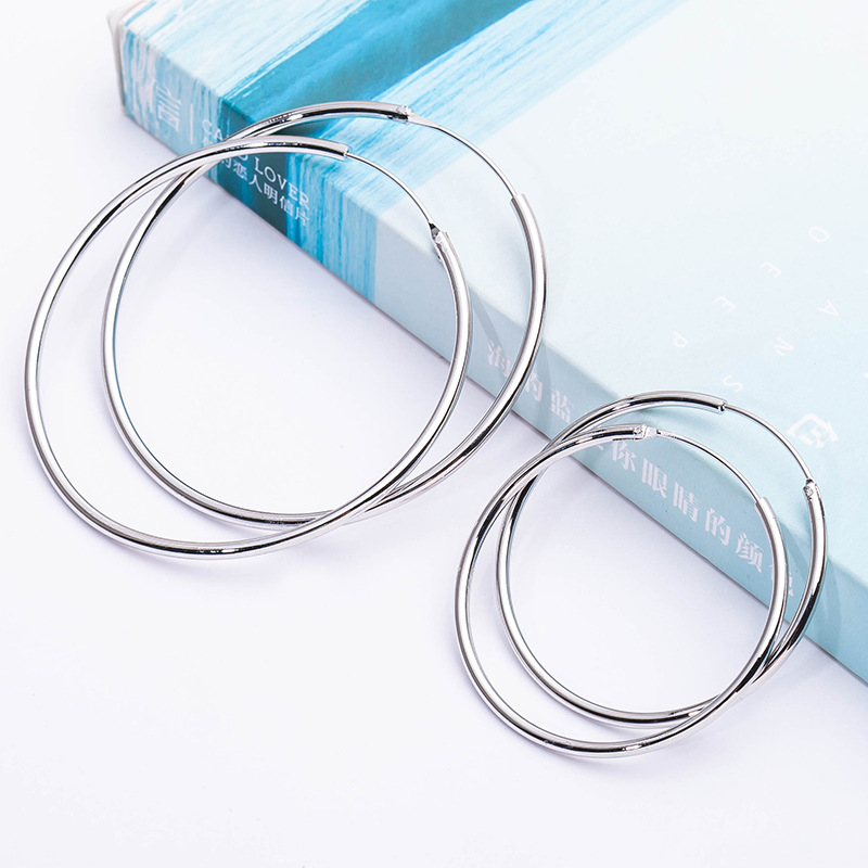 10 pairs/lot Hoop Earrings Big Smooth Circle Basketball Large Round Loop Earring For Women Silver Plated Ear Accessories Jewelry