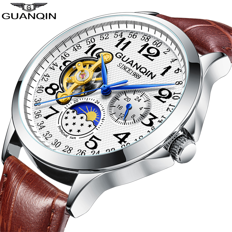 2019 Fashion GUANQIN Mens Watches Top Brand Luxury Skeleton Watch Men Sport Leather Tourbillon Automatic Mechanical Wristwatch