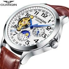 ساعات GUANQIN للرجال مواكبة للموضة لعام 2019 ، ساعة فاخرة بهيكل عظمي للرجال ، ساعة يد آلية أوتوماتيكية من الجلد للرجال