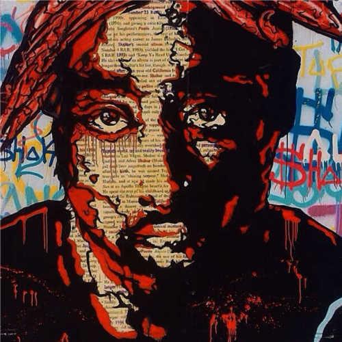 100% Alec monopole fait à la main incroyable sur toile art urbain 2PAC Portrait 28x28
