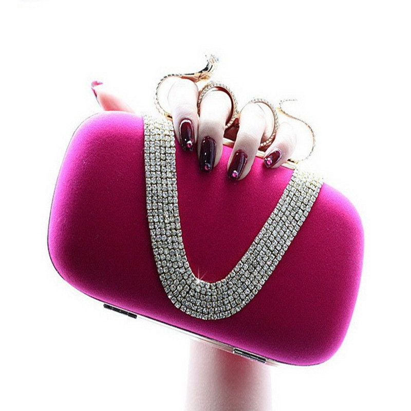 2017 New Style Punk Velvet handbag V shaped diamond snake ring banquet Clutch Purse evening bag