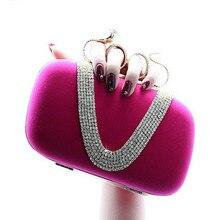 2017 New Style Punk Velvet handbag V shaped diamond snake ring banquet Clutch Purse evening bag