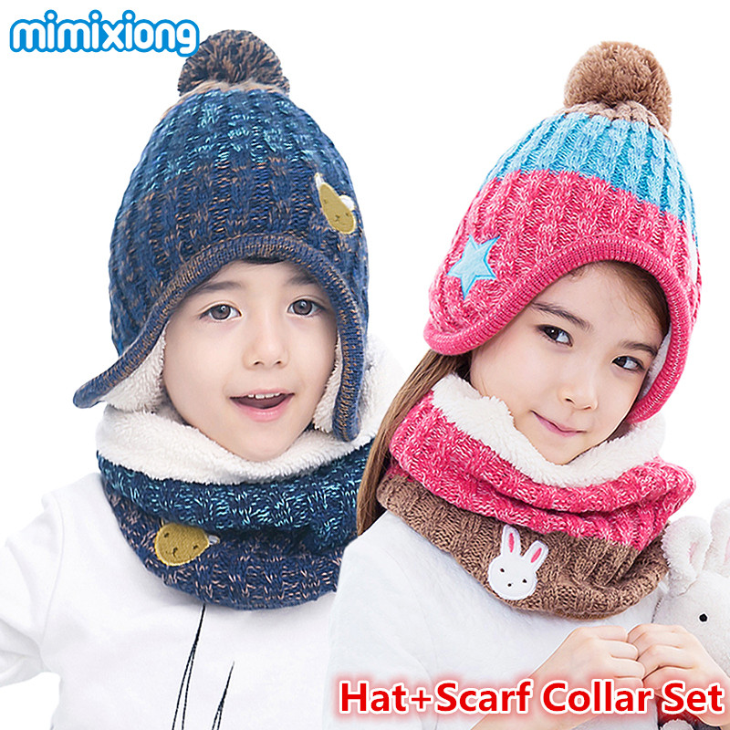 Cute Cartoon Kids Boys Hat Scarf Collars Suits Autumn Knitting Pattern Children Hats Scarf Set Winter Thick Toddler Girls Beanie