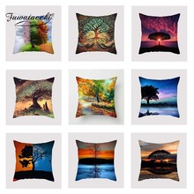 Fuwatacchi Colorful Tree Cushion Cover Dusk Spring   Soft Throw Pillow Cover Decorative Sofa Pillow Case Pillowcase elephant girl and tree nature landscape design sofa pillow case