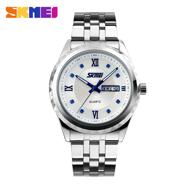 SKMEI Men Business Quartz Watches Waterproof Complete Calendar Wristwatches Stainless Steel Strap Watch Relogio Masculino 9100