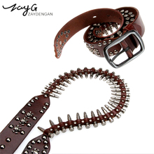 ZAYG New Punk Bullet Rivet Men Luxury Designer Belts High Quality Male Leather Belt Rock Motorcycle Women Strap for Jeans HipHop