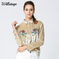 Willstage 2018 New Spring Velvet Shirts Women Velour Blouse Floral Embroidery Printed Pattern Blouses Yellow Office lady Tops XL