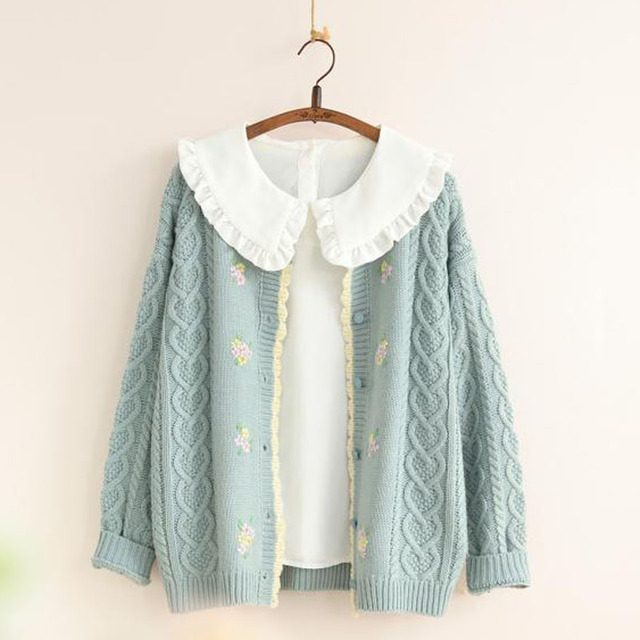 Autumn New Women Knitted Sweater Cardigan Outwear Cable Knit Ladies Sweat  Handmade Flowers Loose One size