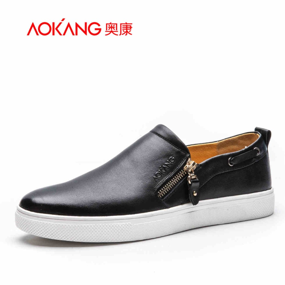 Aokang 2017 new design Fashion Style Soft  Men Loafers High Quality Brand Genuine Leather Shoes Men's Flats Driving Shoes new 2016 high quality genuine leather men shoes soft men loafers fashion moccasins brand men flats casual driving shoes rmc 217
