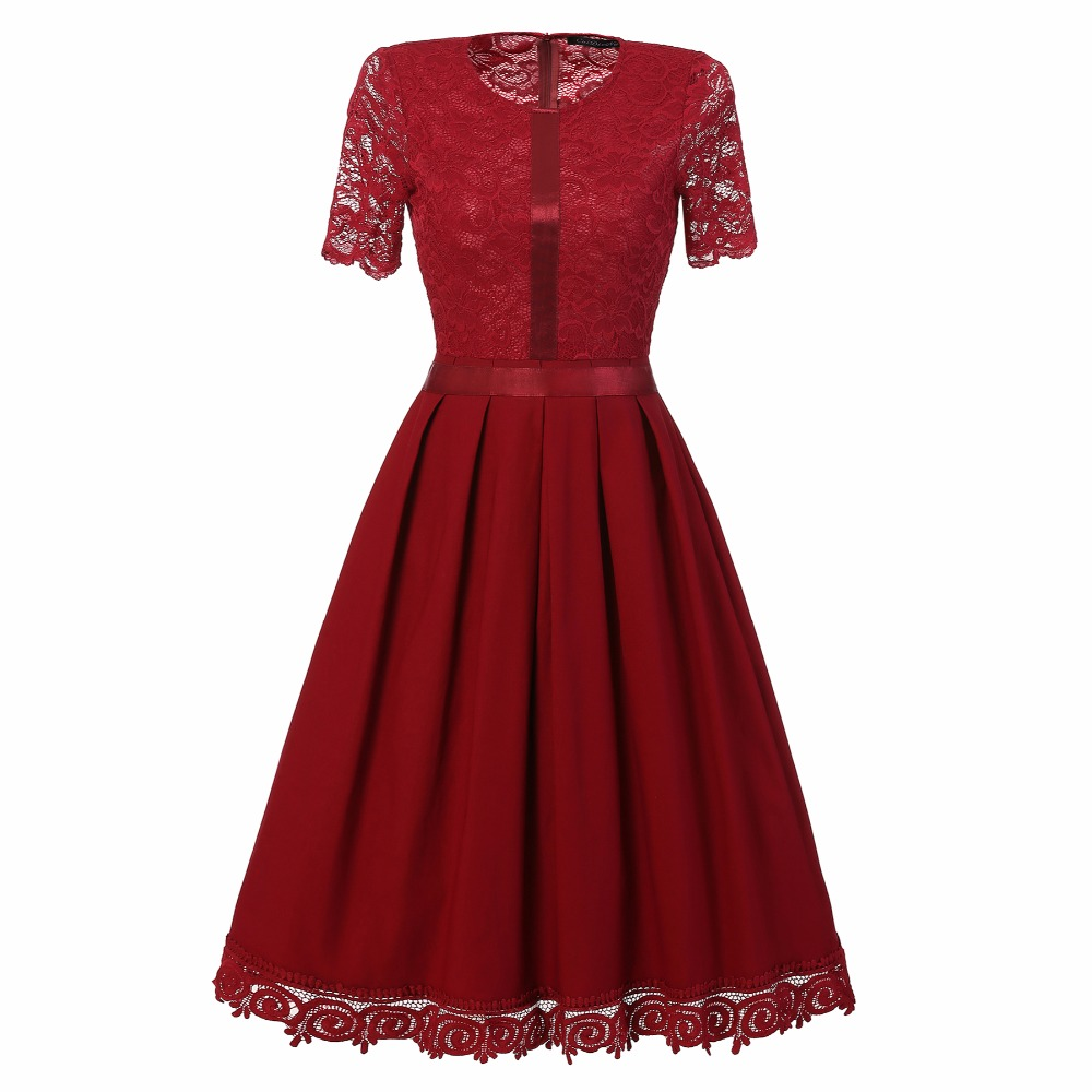 Women's Vintage Short Sleeve Floral Lace Cocktail Party Pleated Swing Dress Elegant Slim Retro Dresses