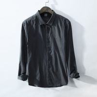 Mens Shirts Long Sleeve Cotton Mandarin Collar Casual Shirt Male Dress Shirts Slim Fit Shirt Men Chemise Homme