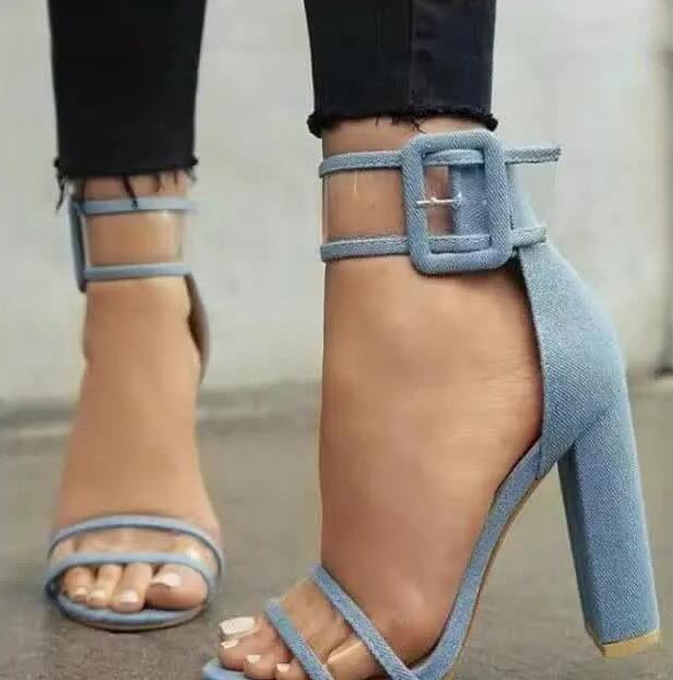PVC Patchwork Straps Women Fashion Sandals Sexy Open Toe Ankle Buckles Ladies Chunky Heel Dress Shoes Female Party Shoes Size 42 stylesowner rhinestone ankle strap high heel women sandals crystal beading tassel open toe chunky heel ladies dress party shoes