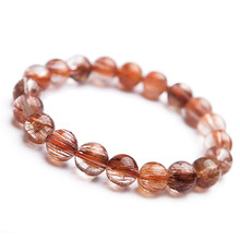 9mm Brazil Natural Copper Hair Rutilated Quartz Crystal Round Bead Stretch Bracelet