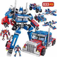 833pcs Technic Model Transformation Anime Series Children Robot Toy Action Figure Toy 2 Size Robot Car Toy for Boy