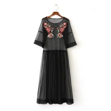 vintage mesh patchwork flower embroidery dress  elegant black long vestidos casual loose dresses hollow out dress