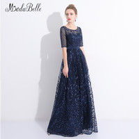 Modabelle Embroidery Tulle Navy Blue Evening Dress With Half Sleeves Floor Length 2018 Designer Long Party