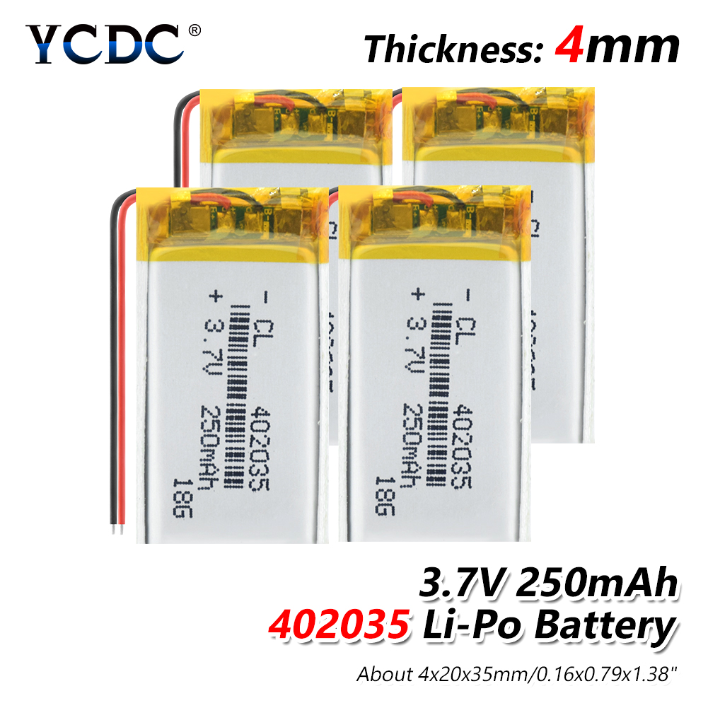 3.7V 250mAh (polymer lithium ion <font><b>battery</b></font>) Li-ion <font><b>battery</b></font> for tablet pc MP3 MP4 Electric Toy [<font><b>402035</b></font>] replace [<font><b>402035</b></font>] <font><b>Batteries</b></font> image