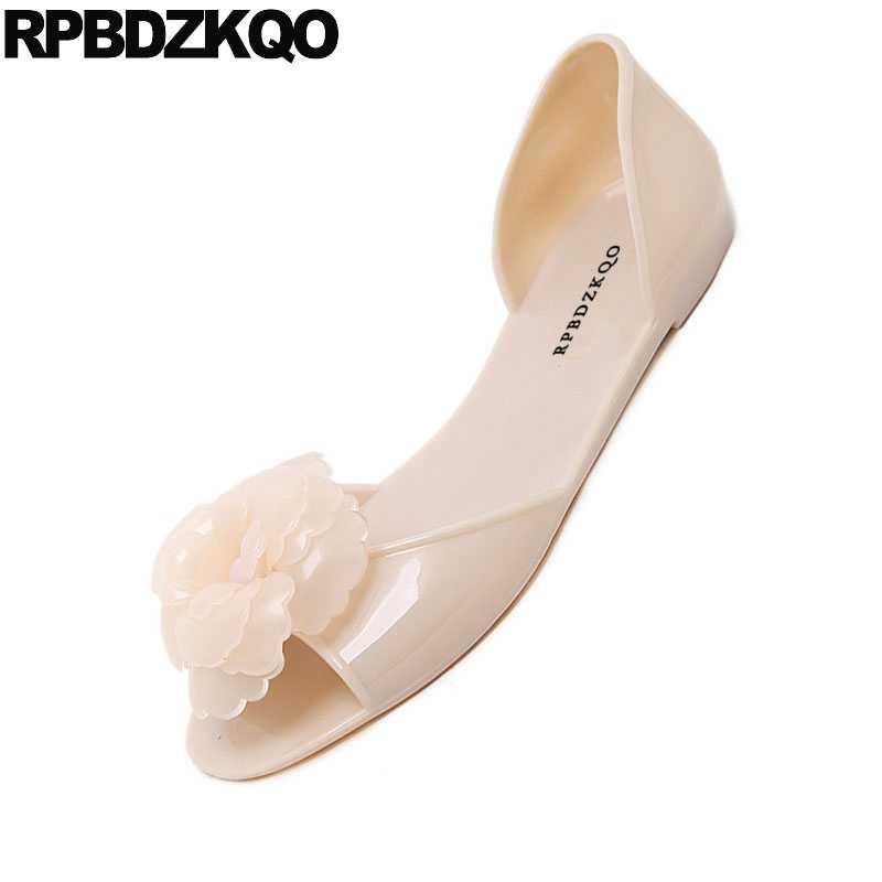 723298208df Flower Applique Ladies Beautiful Flats Shoes Transparent Women Black Peep  Toe Designer Nude Jelly Floral Sandals Japanese School