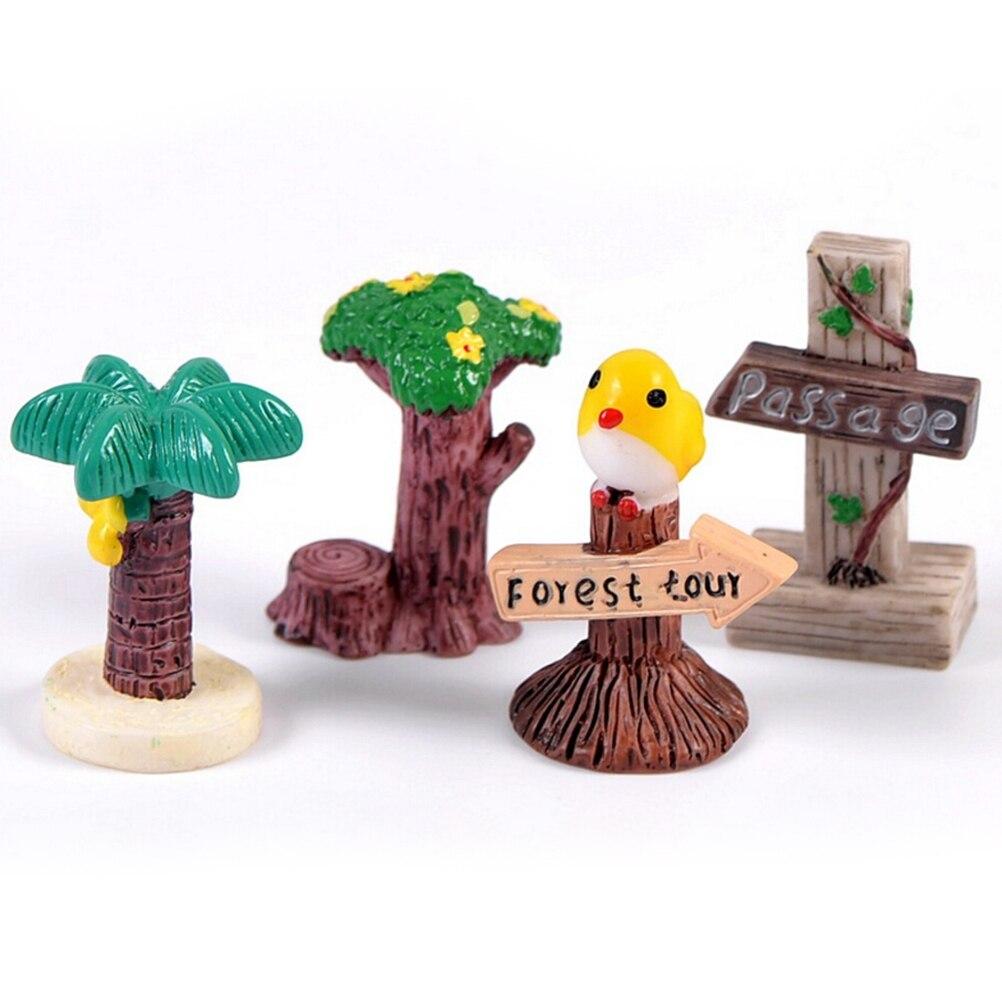 1PC Mini DIY Signpost Simulation Stop Sign Mini Landscape Figurines Resin Craft Terrarium Miniatures Garden Decor 4 Styles
