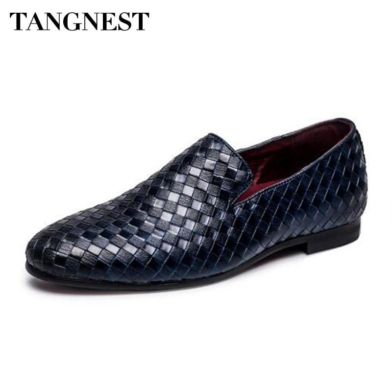 meilleures baskets 05051 cd854 € 18.1 42% de réduction|Tangnest marque de luxe 2018 hommes chaussures  tresse en cuir sans lacet appartements décontracté conduite Oxfords  chaussures ...