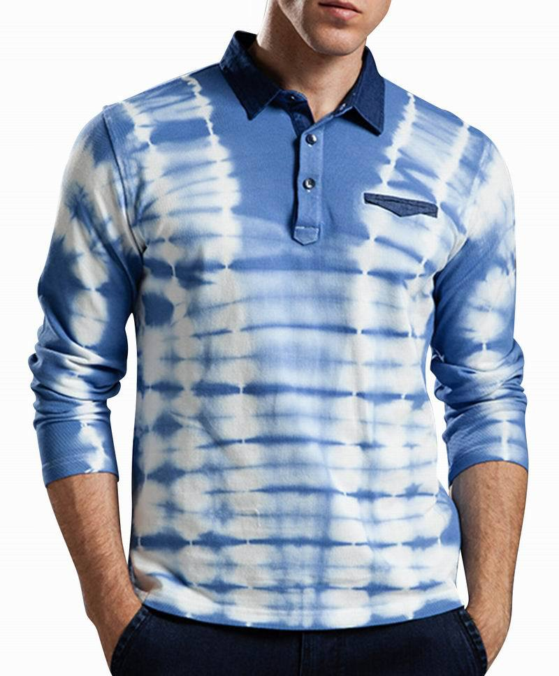 Xiuxian mens polo shirt long sleeves brand new polo shirts for Patterned dress shirts for men