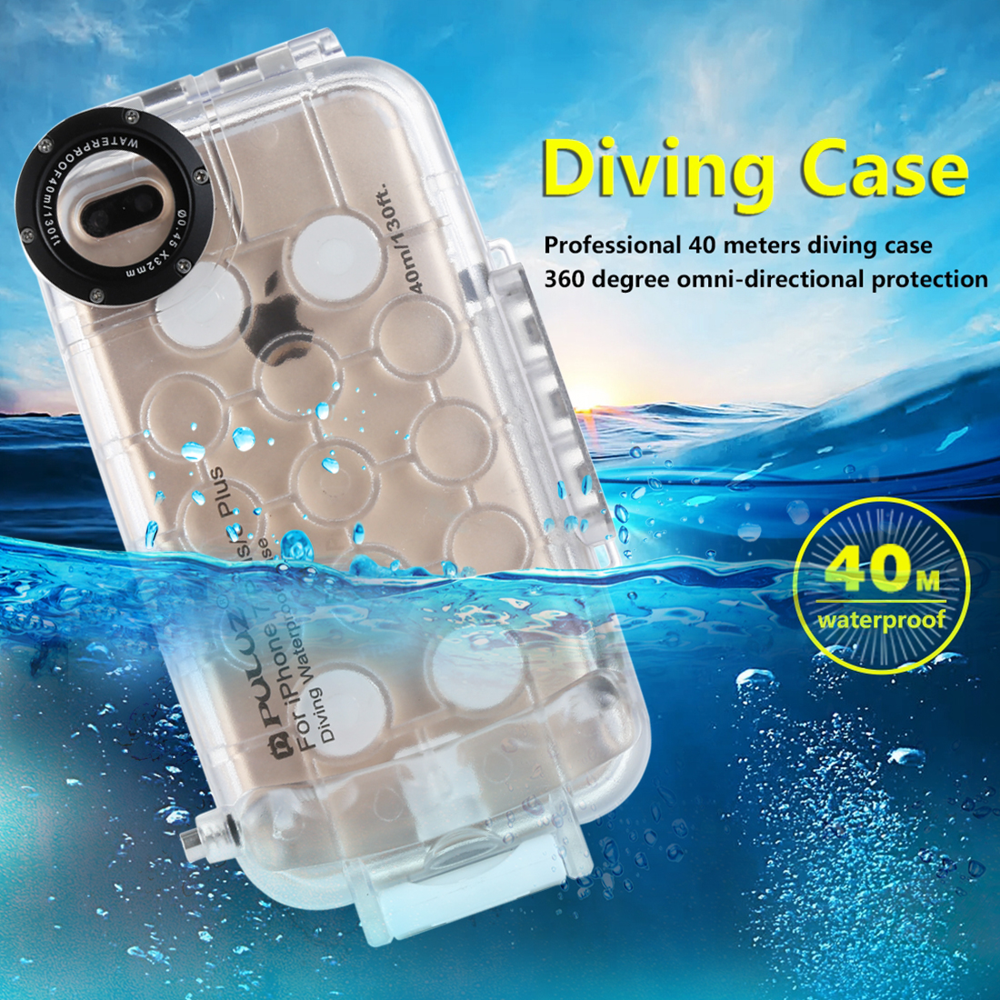 Professional Waterproof Cases for iPhone 7 8 Plus Outdoor Swimming Diving Case Cover Video Photo Housing for iPhone 7P 8P