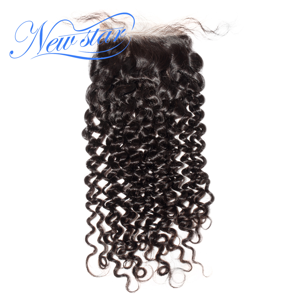 Lace Closures Brazilian Afro Kinky Curly 100% Virgin Human Hair 4x4 Swiss Lace Natural Color New Star Hair Products