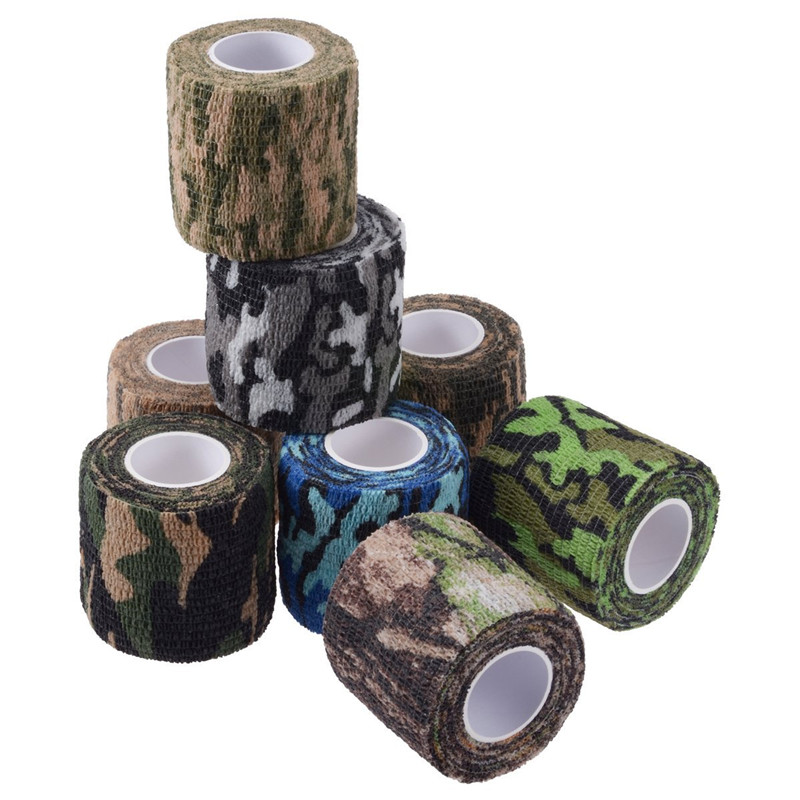 Self-adhesive Camo Stretch Bandage 5CM * 4.5M Tactical Non-woven Protective Camouflage Tape for Rifle Gun Flashlight Camo Tape