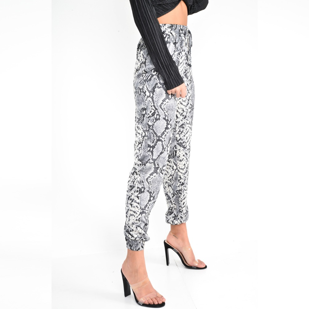 New Women Animal Pattern Trouser Casual Snake Skin Printed Harem Pants Elastic pleated female casual ankle length trousers 9