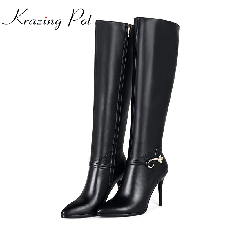 Krazing pot winter brand shoes solid zipper pointed toe thin high heels genuine leather plus size fashion knee-high boots L92 krazing pot cow suede diamond bling winter shoes solid zipper square thick high heels plus size fashion fashion ankle boots l12