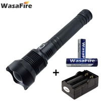 Wasafire Self Defense Torch XHP50 Led 4000 Lumen Flashlight Tactical Lantern With 18650 Battery + Charger for Hunting Camping
