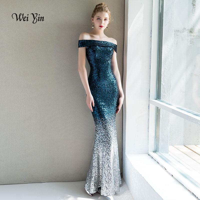 Weiyin Robe De soirée femmes élégant bleu rouge Sequin robes De bal Robe longue élégante soirée soirée femmes robes WY1005